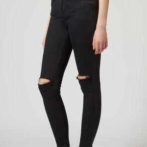 TOPSHOP Moto Leigh Ripped Skinny Jeans Black
